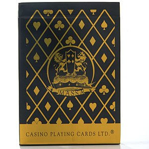 Top Deck Cards:  Massa Premium Casino Black/Gold Linen Poker Size Playing Cards