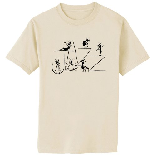 Kokopelli Jazz Band Music Art Print T-Shirt, 2XL, Natural