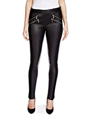 Per Una Speziale Leather Panel Slim Leg Zipped Trousers