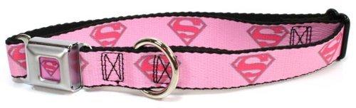 "Superman Seat Belt Buckle Dog Collar Pink 1"" 15-26"""