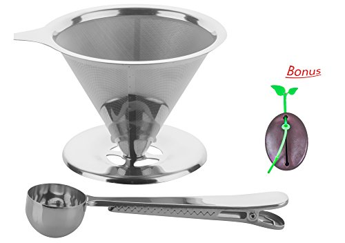 Supreme Stainless Steel Pour Over Coffee Dripper Reusable Coffee Filter & Single Cup Coffee Maker|Camping Coffee Maker (Eco Popcorn Bags compare prices)