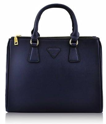 KCMODE Ladies Designer Navy Blue Tote Satchel Office Work Handbag