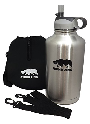 64-Ounce Beer Growler Stainless Steel Travel Set. Bundle Water Bottle, Sleeve / Pouch and Straw Lid. Insulated, Wide Mouth (Insulated Gallon compare prices)