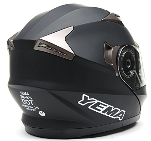 Yema Helmet YM-925 Dual Visor Modular Flip up Motorcycle Helmet-Matte Black,Large