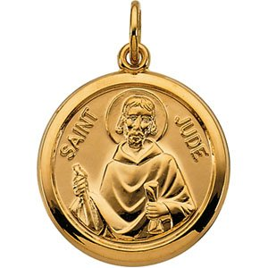 Clevereve Designer Series 14K Yellow Gold 3.10 Grams 15.50Mm Saint Jude Medal