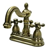 Kingston Brass KB1603AX 4 in. Centerset Bathroom Faucet, Antique Brass (Color: Antique Brass, Tamaño: 4-Inch Center)
