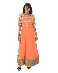 Gurpreet Kaur Women Georgette Dress (G009, Peach , 44)