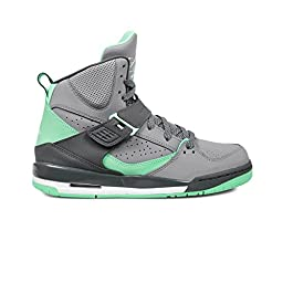 Jordan Flight 45 High Cement Grey/White-Dark Grey-Green Glow (Big Kid) (5.5 M US)