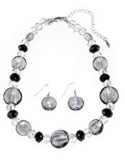 M&S Collection Round Glass & Assorted Bead Necklace & Earrings Set