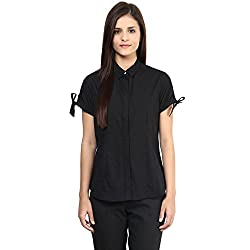 Annabelle by pantaloons Women's Casual Shirt (205000005551229_Black_L)