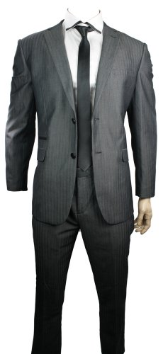 Mens Slim Fit Suit Grey Self Stripe 2 Button Black Trim Office Party or Wedding Suit UK Stock