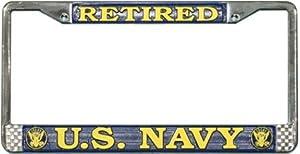 US Navy Retired License Plate Frame (Chrome Metal)