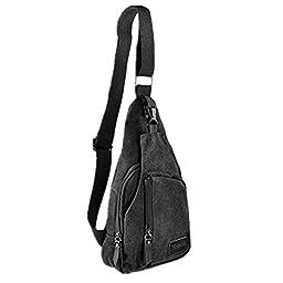 Kalevel Cool Outdoor Sports Casual Canvas Unbalance Backpack Crossbody Sling Bag Shoulder Bag Chest Bag for Men - Size L (Black)