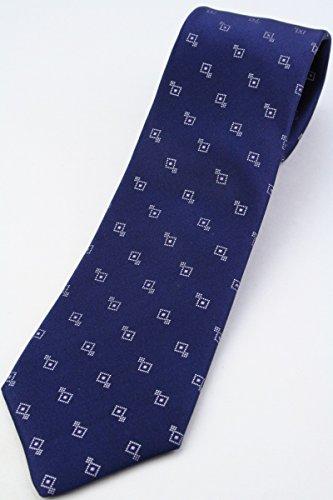 (フェアファクス) FAIRFAX 小紋柄ネクタイ ネイビー系 シルクサテン100% ジャカード jg16026