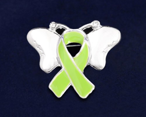 Lime Green Ribbon Butterfly Pin (27 Pins)