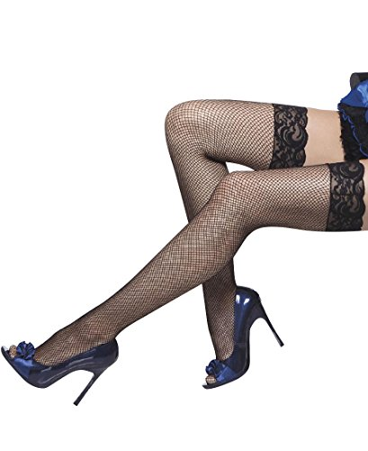 Coquette 1732X Women's Plus Size Lace Top Fishnet Thigh High Stockings - Plus Size - Black (Plus Size Fishnet Stocking With Lace Top)