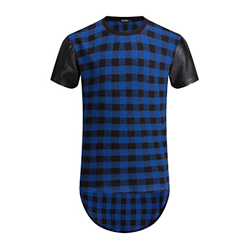 OLRIK Mens Urban Clothing Streetwear Tops Side Zipper Plaid Swag Tshirt Blue M (Side Zipper compare prices)
