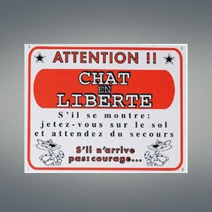 Flamingo-Panneau-Attention-Chat-En-Libert