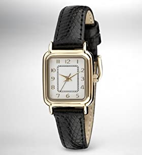 Faux Crocodile Skin Analogue Square Watch