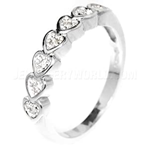Diamond 9ct White Gold Heart Half Eternity Ring - O