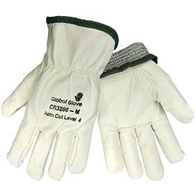 Global Glove CR3200 Aralene Kevlar Fiber Premium Cow Grain Palm Glove, Cut Resistant,... by Global Glove