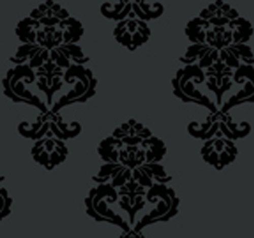York Wallcoverings Tres Chic Bl0397 Graphic Damask Wallpaper, Blacks front-208092