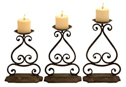 Deco 79 Metal Candle Hold, 13 by 12 by 11-Inch, Set of 3