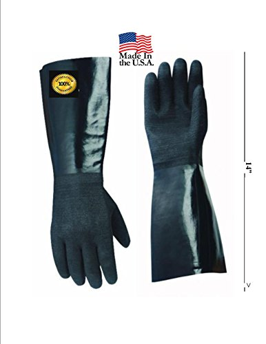 """14"""" Insulated BBQ Gloves ** Early Thanksgiving Sale $25.95 **Neoprene Textured **Use With Your Turkey Fryer, Smoker-Bbq, Home Brew Tasks & All Your Cooking And Food Handling ** Designed For Restaurants With A Textured Five Finger Heat And Grease Resistant"""