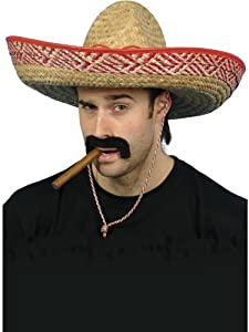 Mexican Bandit Gringo Straw Sombrero Hat Cigar & Self Adhesive Moustache Set Fancy Dress Costume Accessories