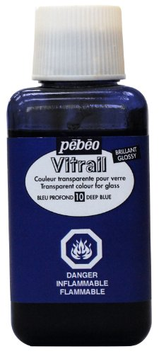 Pebeo 250Ml Vitrail Stained Glass Effect Paint Bottle, Deep Blue
