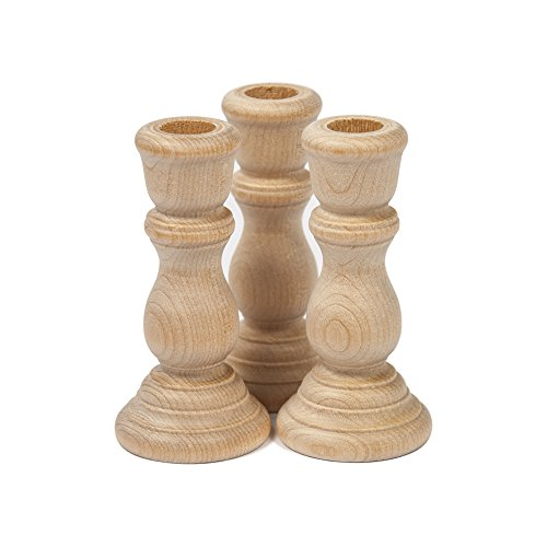 Unfinished Candlesticks 3 Inch, Unfinished Wood Candlesticks 3″ – Bag of 3