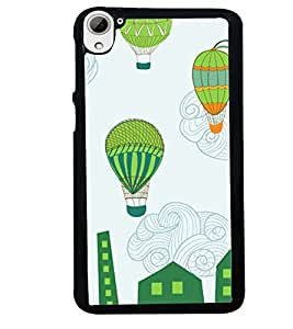 Fuson Premium Hot Air Balloons Metal Printed with Hard Plastic Back Case Cover for HTC Desire 826