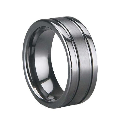 Ceramic Ring , Brushed & Polished Shiny, Width: 8 Mm Free Logo Making Free Gift Box