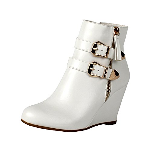 West Blvd Amman Ankle Wedges Boots, White Pu, 7