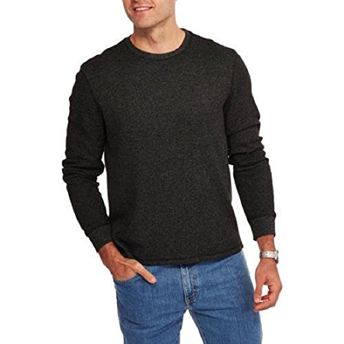 Faded Glory Men's Long Sleeve Waffle Thermal Crew Shirt / Top (M, Black Marl) (Faded Glory Tops compare prices)