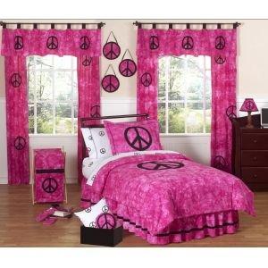 Pink Groovy Peace Sign Tie Dye Window Treatment Panels By Sweet Jojo Designs - Set Of 2 front-3241