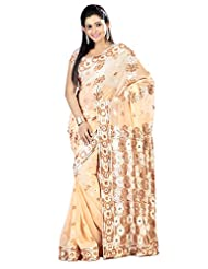 Designer Fine-looking Beige Colored Embroidered Faux Georgette Saree By Triveni