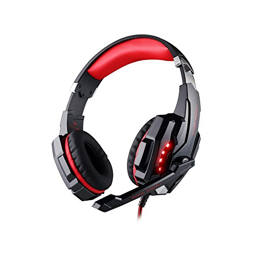 Each 3.5 mm Gaming Headphones headset headband with Microphone & LED Light for PlayStation 4 PS4 Tablet PC iPhone 6/6s/6 plus/5s/5c/5 Mobile phones Black+Red