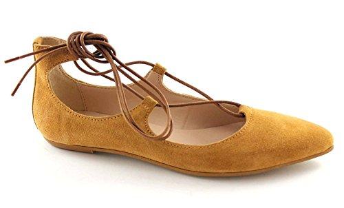 DIVINE FOLLIE 5782 cuoio scarpa donna ballerina schiava laccio 40