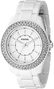 Fossil Women's ES2444 White Resin Bracelet White Glitz Analog Dial Watch