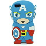Blue 3D Captain America Pattern Soft Silicone Case Cover For iPhone 4 4s/4g