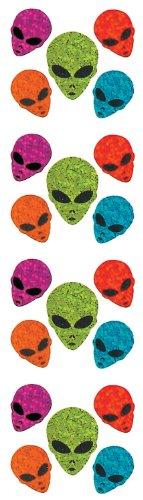 Jillson Roberts Prismatic Stickers, Mini Alien Faces, 12-Sheet Count (S7201)
