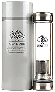 UEndure Tea Infuser - Tea Tumbler Tea Cup with Loose Leaf Tea Strainer - Portable Teapot with Stainless Steel Filter Basket - Glass Water Bottle for Ice Tea and Essential Oils
