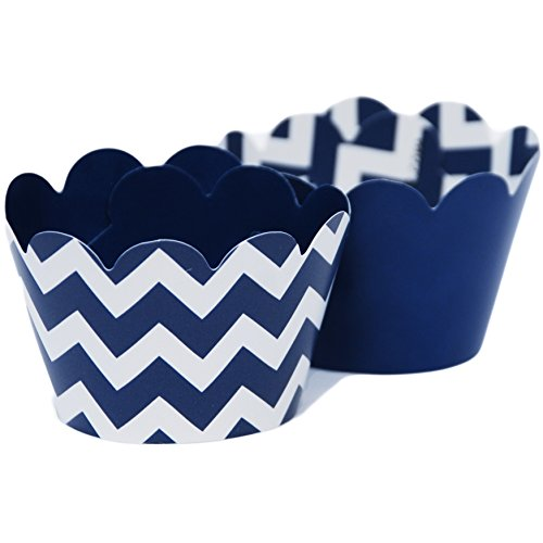 MINI Cupcake Wrappers Blue, Nautical Navy Blue Chevron Baby Shower Decorations, 24 Wraps (Boy Scout Display Case compare prices)