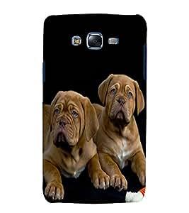 printtech Cute Dogs Couple Back Case Cover for Samsung Galaxy E5 / Samsung Galaxy E5 E500F
