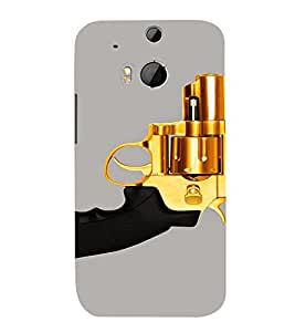 PrintVisa Golden Revolver Gun 3D Hard Polycarbonate Designer Back Case Cover for HTC One M8
