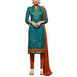 Applecreation Dark Green Dress Material With Heavy Embroidered Matching Dupatta for Women's