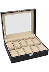 Watch Box 10 Mens Black Leather Display Glass Top Jewelry Case Organizer
