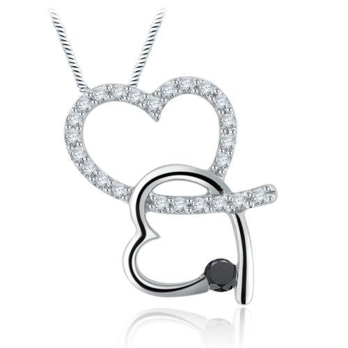 Sterling Silver Black & White Simulated Diamond Heart Pendant