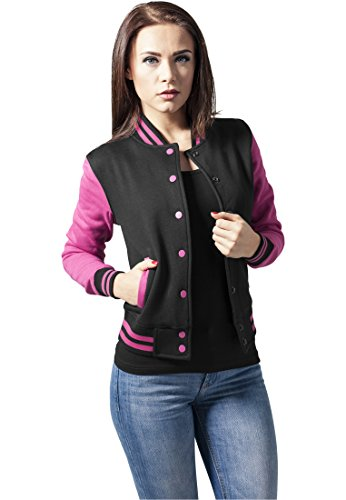 Urban Classics TB218 Ladies 2-tone College Sweatjacket Giacca donna M blk/fuc